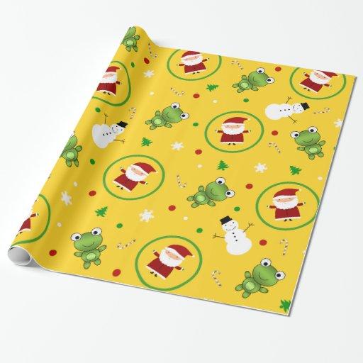 Yellow frogs santa claus snowmen wrapping paper   Zazzle