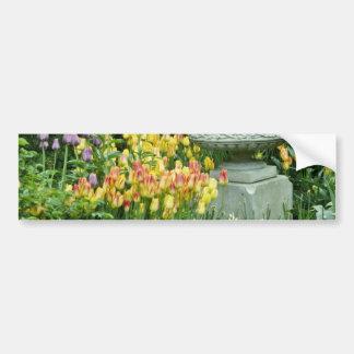 yellow Front garden of house in Westmount, Quebec, Bumper Stickers