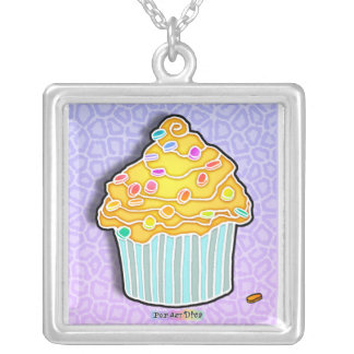 Yellow Frosted Cupcake Pendants
