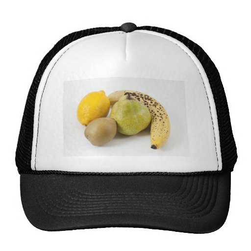 Yellow fruits on a white background trucker hat