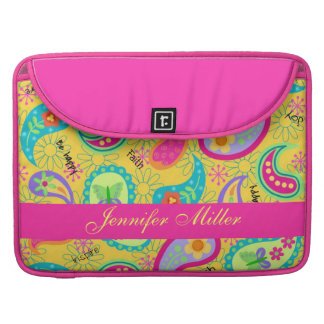 Yellow Fuchsia Pink Modern Paisley Pattern MacBook Pro Sleeve