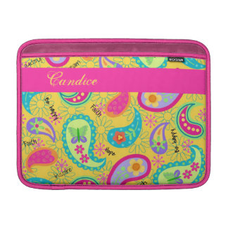 Yellow Fuchsia Pink Modern Paisley Whimsy Pattern MacBook Air Sleeve