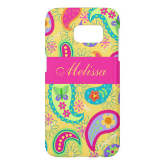 Yellow Fuchsia Pink Paisley Name Personalized Samsung Galaxy S7 Case