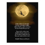Yellow Full Moon and Witch Halloween Party 4.25x5.5 Paper Invitation Card