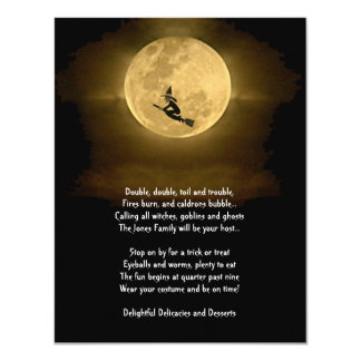 Yellow Full Moon and Witch Halloween Party Card