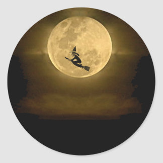 Yellow Full Moon and Witch Halloween Classic Round Sticker