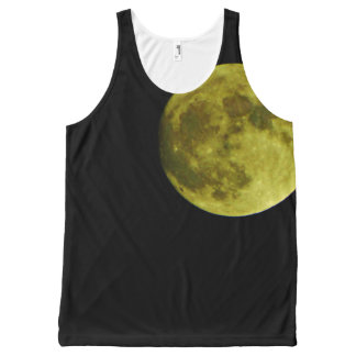 Yellow full moon black night sky All-Over-Print tank top