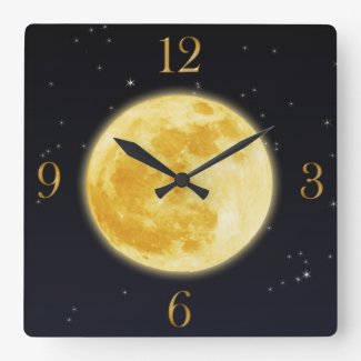 Yellow Full Moon & Starry Sky Wall Clock