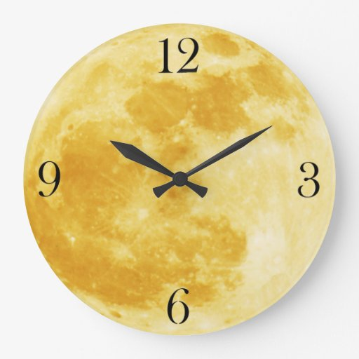 Yellow Full Moon Wall Clock