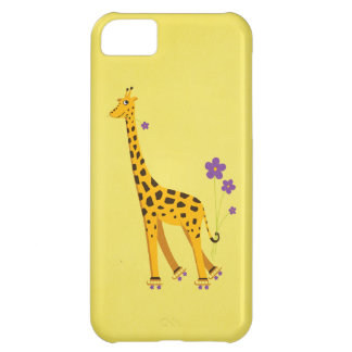 Yellow Funny Cartoon Giraffe Roller Skating Cover For iPhone 5C