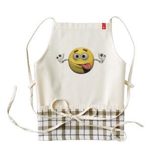 Yellow funny faces emoticon or smiley zazzle HEART apron