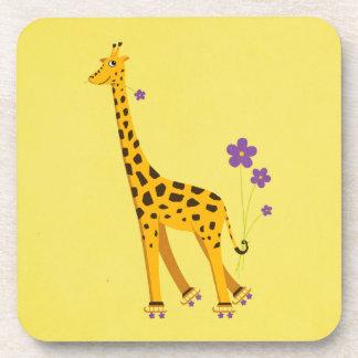 Yellow Funny Giraffe Roller Skating Beverage Coaster