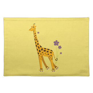 Yellow Funny Roller Skating Giraffe Cloth Placemat