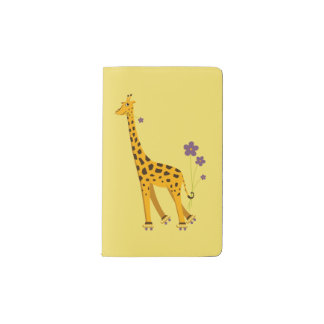 Yellow Funny Roller Skating Giraffe Pocket Moleskine Notebook Cover With Notebook