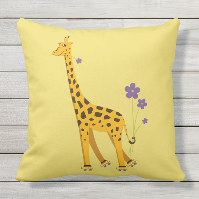 Yellow Funny Roller Skating Giraffe Outdoor Pillow