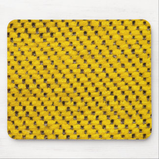 Yellow fur and black strings mouse pad