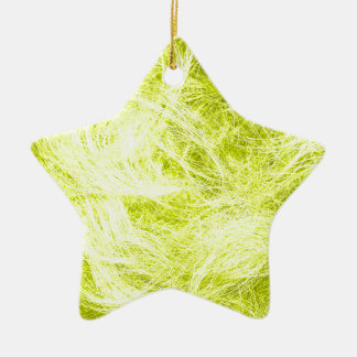 Yellow Fur Double-Sided Star Ceramic Christmas Ornament