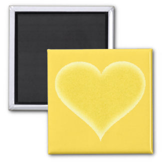 Yellow Fuzzy Heart Customizable 2 Inch Square Magnet