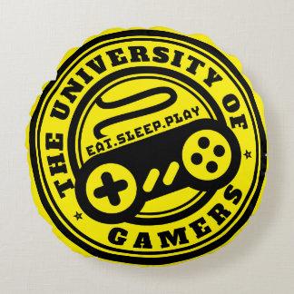 Yellow Gaming Pillow University of Gamers Logo