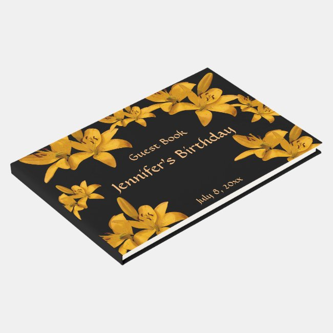 Yellow Garden Flowers Birthday Party Guest Book