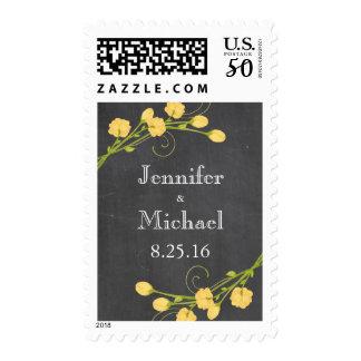 Yellow garden roses chalkboard invitation stamp