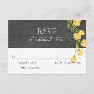 Yellow garden roses chalkboard rsvp card