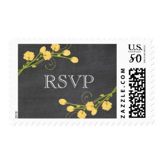 Yellow garden roses chalkboard RSVP stamp