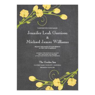 Yellow garden roses chalkboard wedding invitation