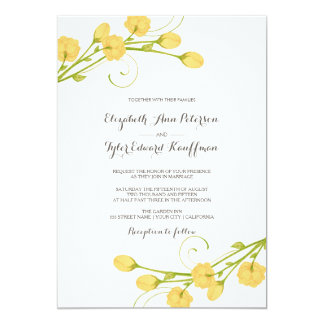 Yellow Garden Roses - Wedding Invitation