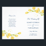 """Yellow Garden Roses with navy text wedding program<br><div class=""""desc"""">Yellow Garden roses with navy text wedding program. Customizable. Part of a wedding collection.</div>"""