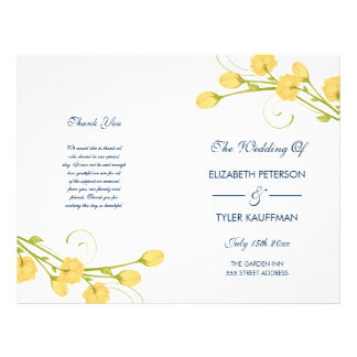 Yellow Garden Roses with navy text wedding program