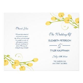 Yellow Garden Roses with navy text wedding program