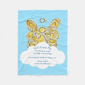 Yellow Gaurdian Angel God Grant Me Chemo Blanket