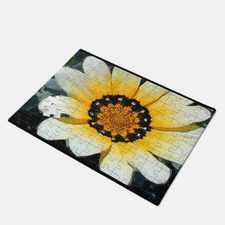 Yellow Gazania Daisy Flower Jig Saw Puzzle Doormat
