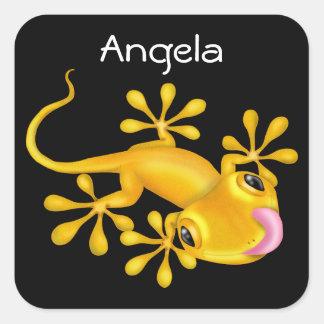 Yellow Gecko Lizard Square Sticker