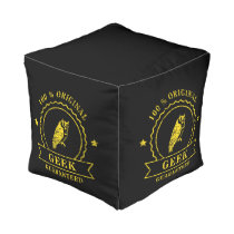 Yellow Geek Owl Seal Cube Pouf