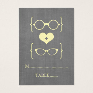 Yellow Geeky Glasses Chalkboard Place Cards