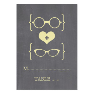 Yellow Geeky Glasses Chalkboard Place Cards Large Business Cards (Pack Of 100)