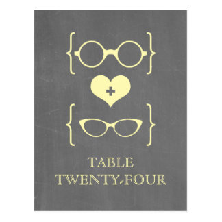 Yellow Geeky Glasses Chalkboard Table Postcard