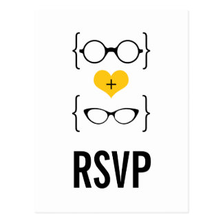 Yellow Geeky Glasses RSVP Postcard
