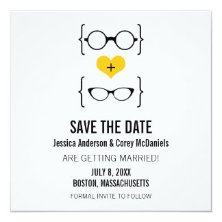 Yellow Geeky Glasses Save the Date Announcement