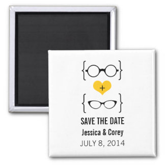 Yellow Geeky Glasses Save the Date Magnet