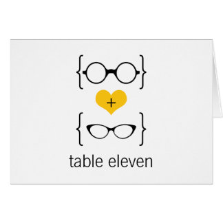 Yellow Geeky Glasses Table Number Card