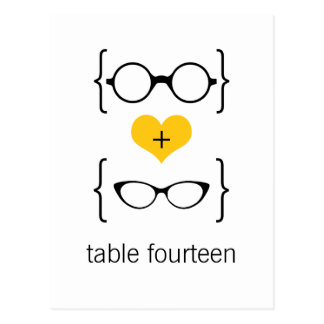 Yellow Geeky Glasses Table Number Postcard