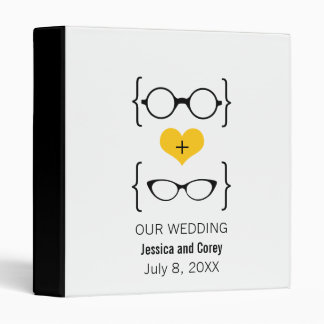 Yellow Geeky Glasses Wedding Binder