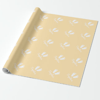 Yellow gender neutral baby footprint wrappingpaper wrapping paper