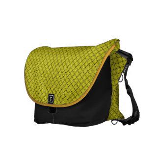 Yellow Geometric Diamond Pattern Messenger Bag