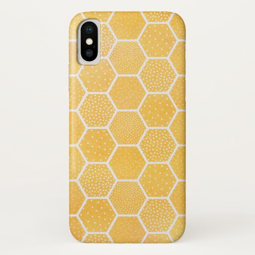 Yellow Geometric Honeycomb Pattern iPhone X Case