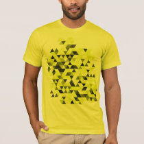 Yellow Geometric Triangles Pattern T-Shirt