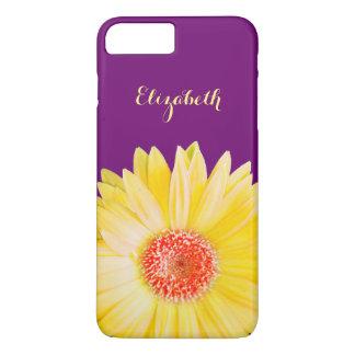 Yellow Gerber Daisy on Dark Purple Personalized iPhone 7 Plus Case
